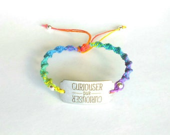 CURIOUSER and CURIOUSER Rainbow Hemp Anklet   Hemp Ankle Bracelet   Alice in Wonderland   Hemp Jewelry   Hemp Women   Hemp Teens   Gift