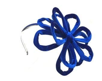 FREE SHIPPING - Flexible Blue Velvet Flower Headband