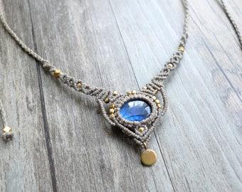 Labradorite Macrame Necklace, macrame jewelry, macrame necklace, labradorite necklace, labradorite macrame, healing jewelry (N19)