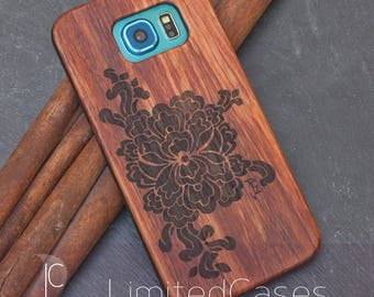 """Case for Samsung Galaxy S6 with rosewood Edition, laser-engraved """"Orchid"""""""