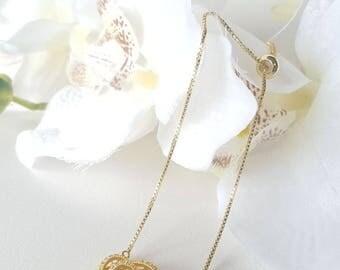 SUN ROSE • Golden flower bracelet • adjustable slide closure