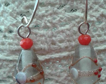 Transparent and Red Lampwork earrings