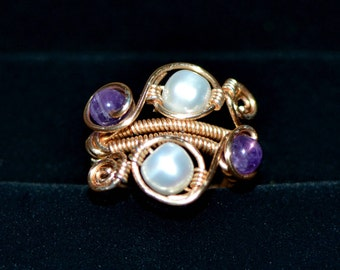 Amethyst and Fresh Water Pearl Statement Ring