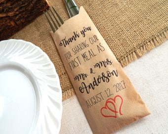 Set of 5 - 100 pcs. Silverware Bags, Place Setting Bags, Utensil Bags, Wedding BBQ Utensil Bags, Food Service Bags, Rehearsal Dinner