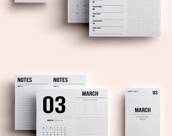 POCKET TN Insert | March | Printable daily to do | Daily Planner | Grid Planner | Weekly Planner | Printable Travelers Notebook Inserts