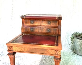 Great Vintage Wooden Step End Table | Two Tiered End Table With Leather Inlay |  Leather Top