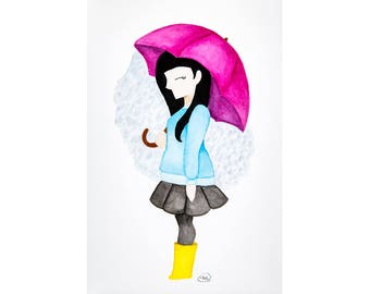Mae (Rainy Day Girl) // Watercolor Illustration Cartoon Character Raining Pink Umbrella Print