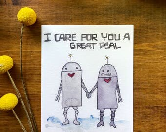 Robot Valentine Card / Cheeky Valentine Card / Not Quite Love /Funny Valentine's Day Card/ Funny Anti Love card / Funny Anniversary Card