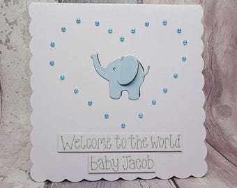 Elephant baby boy card, Handmade new baby card, Personalised new baby card, Birth announcement card, Blue baby boy card, Gender reveal card