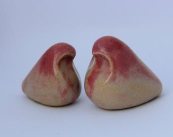 Ceramic Birds with Blush Accents (Set of Two)