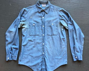 1950s Vintage Farm Workwear Double Ringer Chambray Button Down Shirt Made in USA