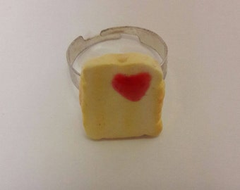 Toast Polymer Ring with Heart shaped Jam.