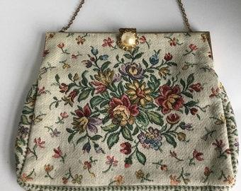 Vintage 1950's Kinkelman's Floral Tapestry Purse~Evening Handbag Lined w/ Goldtone Frame