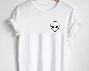 Alien Face Shirt - Pocket Shirt Cute Shirt Womans Tee Mens Tshirt Gift Aliens Alien UFO Martian Head Planet Space Stars Eyes