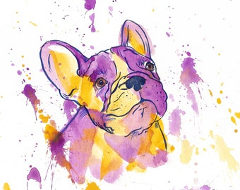 French Bulldog Watercolor PRINT **Includes Mat** - Bulldog Frenchie Watercolor - Dog Art - Doggy Decor