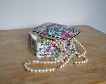 Staffordshire England Fine Bone China Floral Trinket Box