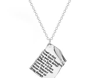 "Stainless Steel Trust, Love, Pray, God Quote Parchment Note Inspirational Dog Tag, Religious Pendant, 18"" Chain Necklace"