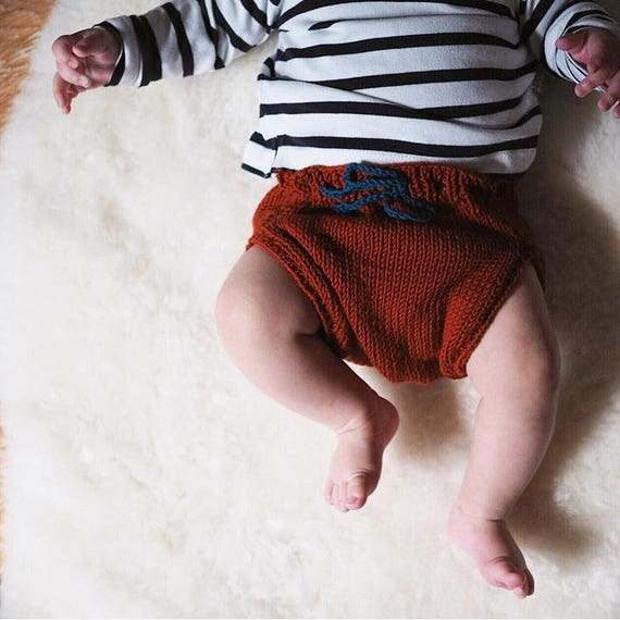 Baby bloomers baby pants, baby bloomers, diaper cover CARLOTTA rust knitting workshop me