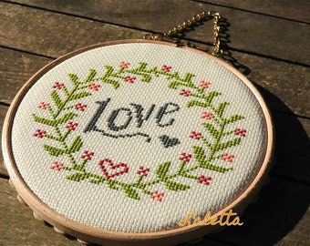 Vintage styled Handmade Cross stitch Hoopart Wall Decoration