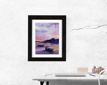 original art, original painting, gift, art, wall art, decor, gift idea, landscape idea, watercolor painting, present, large, saltwatercolors