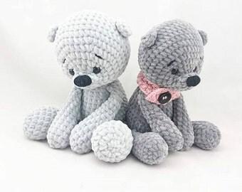 Kuscheltier Teddy Bär Eisbär Micha Spieluhr gehäkelt