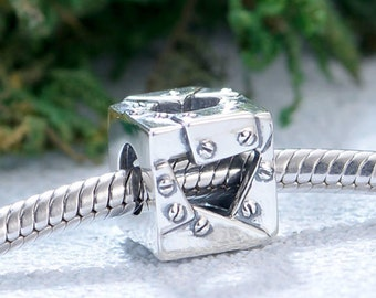 Silver charm authentic Sterling silver patchwork box charm beads perfect fit for pandora and troll or european bracelets