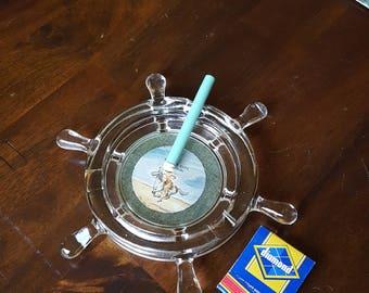 Vintage Captain's Wheel Glass Ashtray/Kansas City, Missouri Souvenir