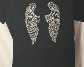 Ladies Rhinestone Wings T-Shirt, Two Different Designs to choose