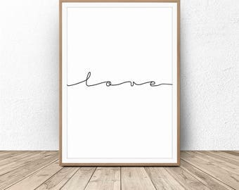 Typography Wall Art, Valentine's Gift, Gift for Her, Love Sign, Quote, Minimalist Love Sign, Typography Poster, Quote Print, Wedding Print