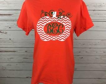 Monogrammed Pumpkin Shirt, Monogrammed Halloween Shirt, Pumpkin Shirt, Halloween Shirt, Orange Pumpkin Shirt, Womens Fall Shirt, Fall Shirt