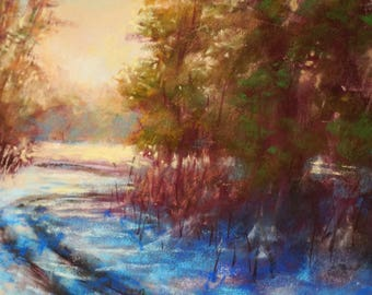 Park Šturmovci at winter | Original pastel painting
