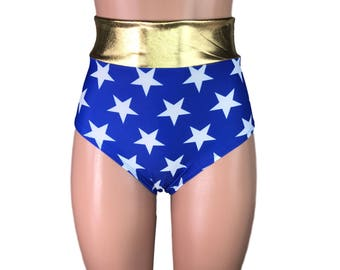 Wonder Woman Inspired High Waisted Hot Pants - Booty Shorts - Bikini Bottom - club or rave wear - Crossfit - Running