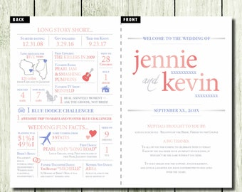 Infographic Wedding Program - customizable - folded