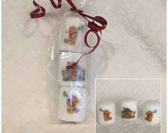 Christmas votive candle decoupaged gingerbread man gingerbread house teachers gift stocking filler