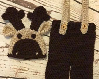 Crochet Newborn Moose outfit