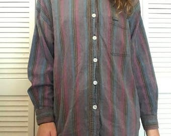 Women's Stripped Button Up (Size: M)
