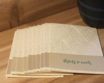 Set of 10 Linen Embossed Thank You Cards