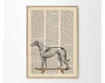 Greyhound on Skateboard Art Print - Greyhound Print - Greyhound Illustration - Dog Wall Art - Dog Art - Dog Wall Decor
