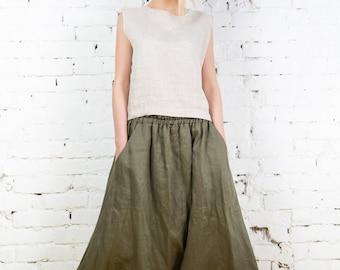 Linen pants, natural loose linen pants, washed women linen trousers /LP0008