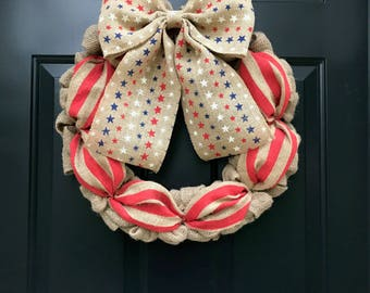 4th of July Stars and Stripes Burlap Wreath, Patriotic Wreath, Memorial Day, Military, Independence Day, Veterans Day, America, USA, Red