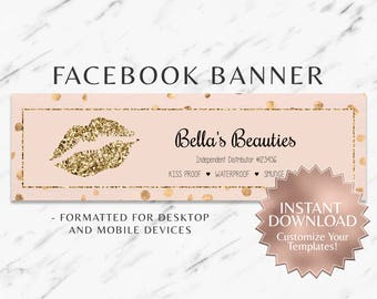 Gold Glitter and Blush LipSense/Makeup Facebook Banner Template
