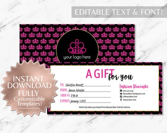 Unmeasured branding black gold and hot pink crown paparazzi printable gift certificate instant template yelopaper Gallery
