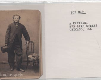 Antique CDV Photograph - Unknown bearded man with top hat. Chicago Illinois A Pattiani