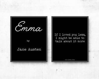 Love Quote Prints, Jane Austen Wall Art, Emma Art Print, Literary Art Quotes Set of 2 Prints, Literary poster gift, Black and White Art