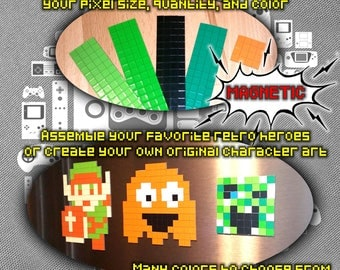 Colored Magnet Pixels. Build Designs on Fridge or any Magnetic Surface. Final Mega Super Mine Mario Craft Fantasy Man 1 2 3 4 5 6 Art Custom