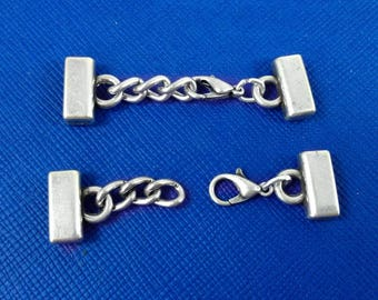 European clasps for bracelets, bracelet clasp for 10 mm flat leather, Spring clasp, Leather jewelry findings, Antique sterling silver plated
