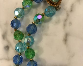 Vintage Blue and Green Aurora Borealis Glass Necklace  // AB Crystals