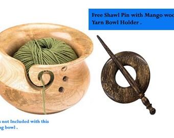 Mango wood yarn bowl