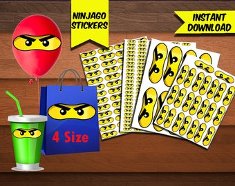 Ninjago Eyes Stickers-Ninjago Favors-Digital Ninjago Stickers-Ninjago Party Decoration-Printables Ninjago Stickers-Birthday-DIGITAL Download