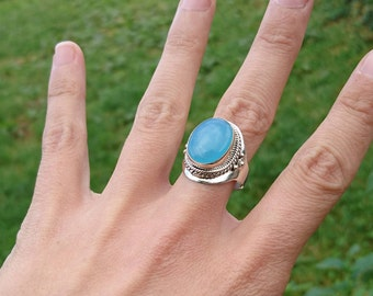 Aquamarine on silver ring